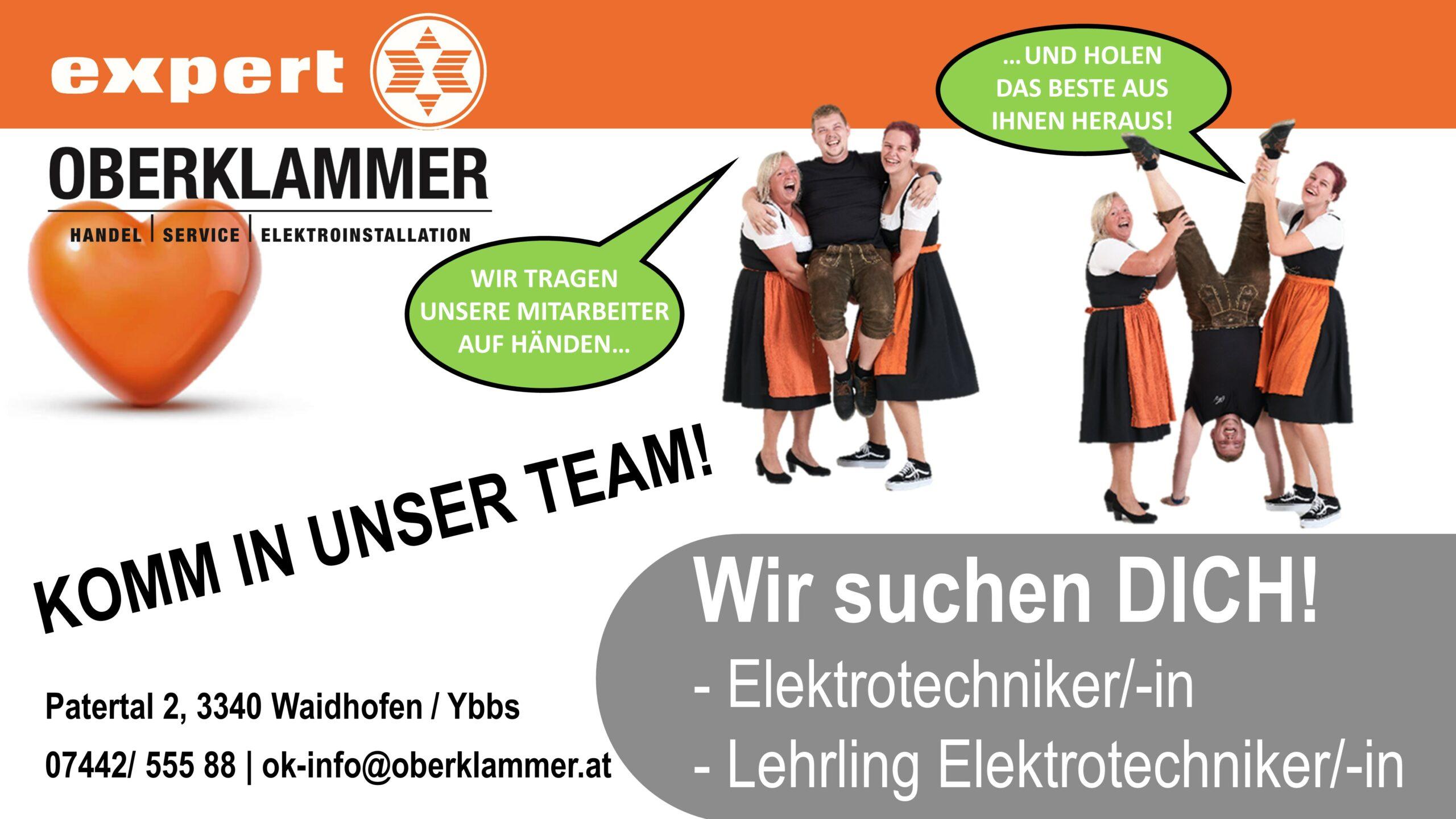 Jobinserat Elektrotechniker+Lehrling aktuell